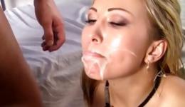 Blonde slut suck penis load cumm on face