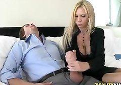 Milf yellow handjob dick load cumm on face