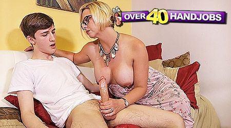 Hot older woman giving older men hand jobs