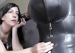 Bondages woman handjob dick and facial