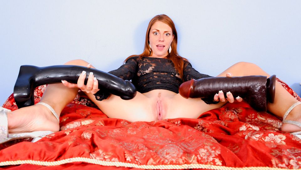 best of Takes huge Girl dildos two