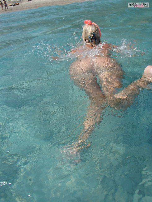 Nude swimming underwater