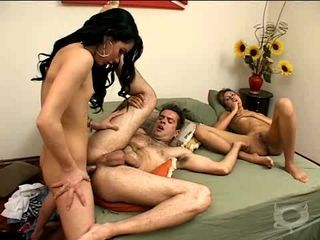 Hot threesome hubby wife and shemale