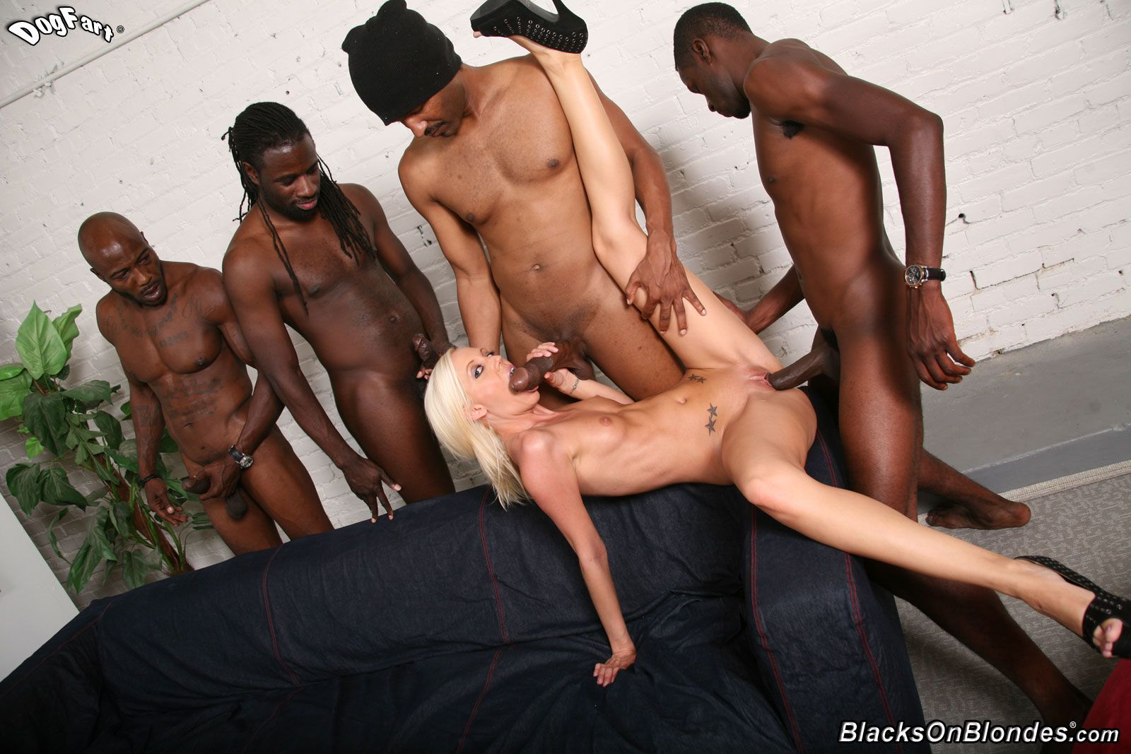Huge interracial creampie gangbang