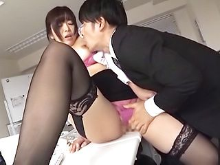 Japanese pantyhose fuck office