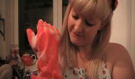 best of Rubber handjob Red gloves