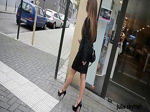 Jeans heels walking