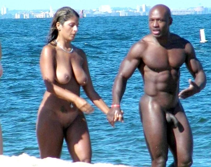 Nude black suck cock on beach