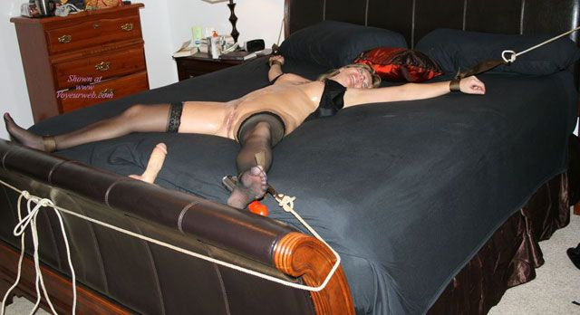 Bedroom bondage with wife