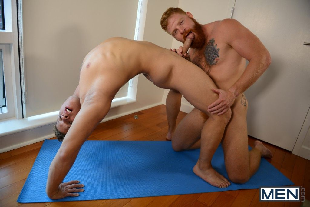 Nude men girl yoga