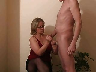 Horny mature neighbor gives handjob Handjob