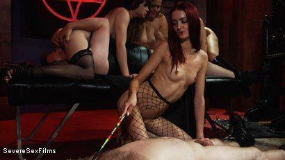 Latex Mistress Fucks slave with strapon (Amateur femdom dominatrix).