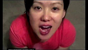 Asian blowjob and loud anal cumshot swallowing