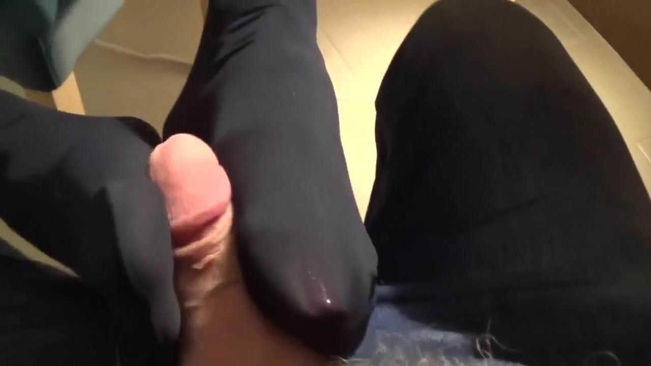 best of Footjob stocking Black patent