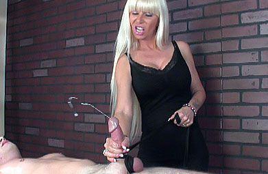 Bondages woman handjob cock load cumm on face
