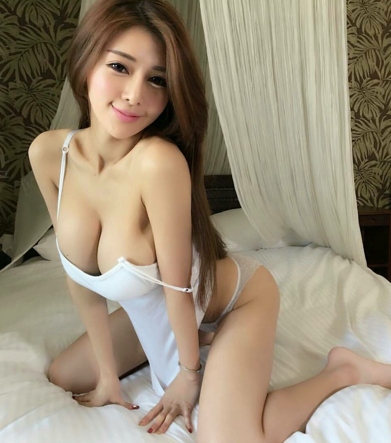Busty asian down blouse