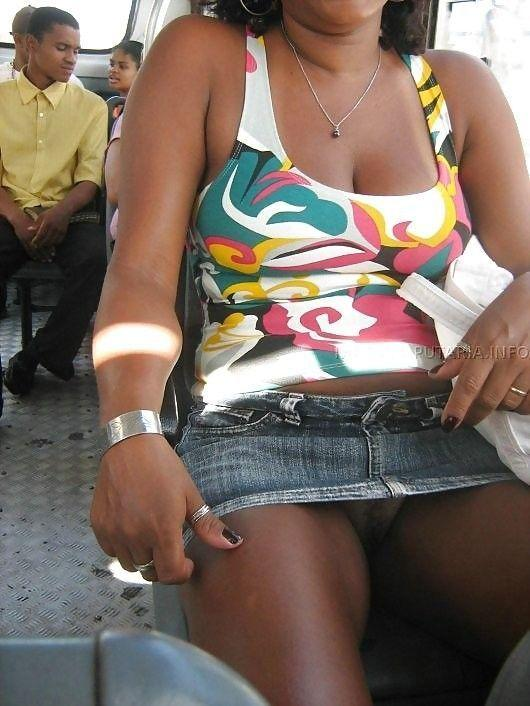Ebony black upskirt