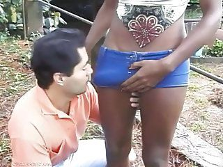 Erotic slave handjob dick outdoor