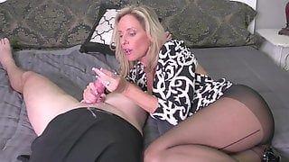 Pantyhose shaved handjob penis and fuck