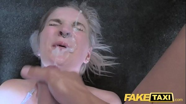 Blonde whore blowjob cock load cumm on face