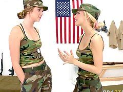 Military woman wet pussy pants