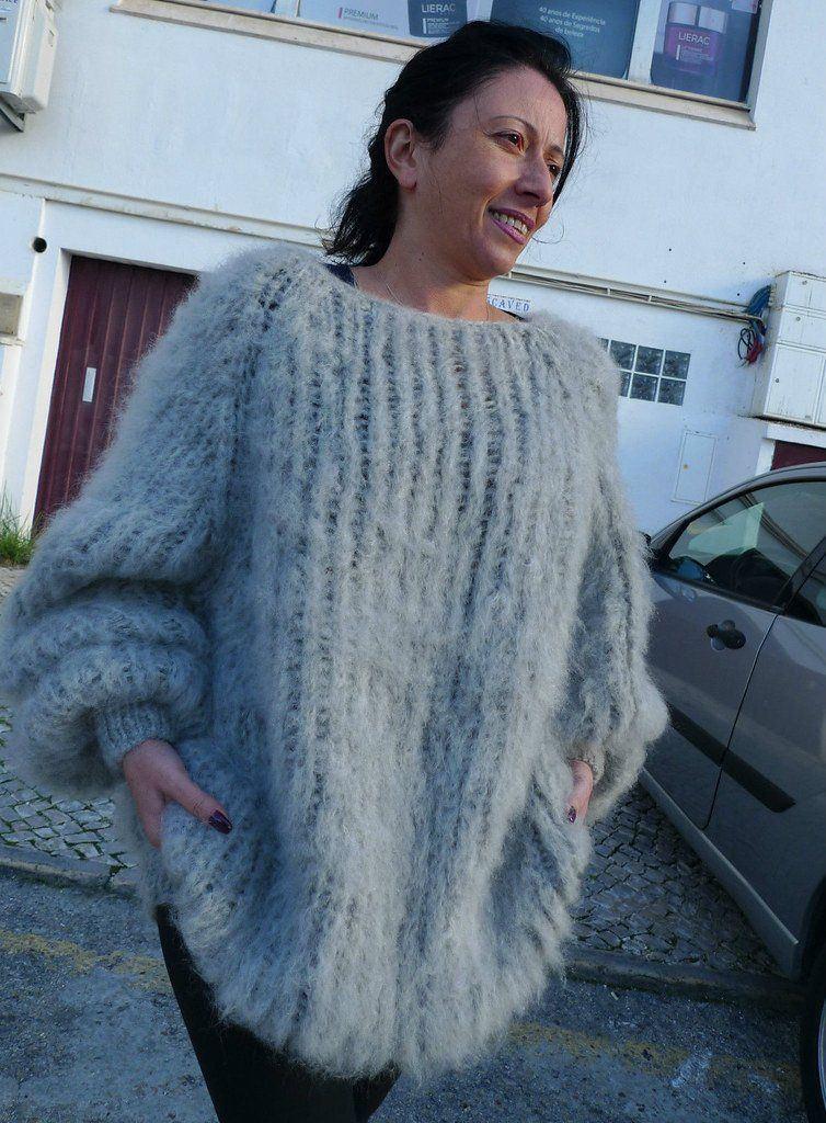 Mohair sweater and bkanket bondage