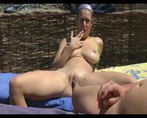 Small tits italian suck cock on beach