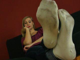 Smell socks lick feet