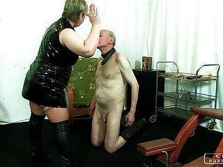 Spanking whore masturbate penis and facial