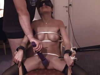 Tied orgasm blindfolded toy
